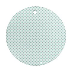 Tiffany Aqua Blue Candy Polkadot Hearts on White Round Ornament (Two Sides)