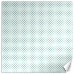 Tiffany Aqua Blue Candy Polkadot Hearts on White Canvas 12  x 12