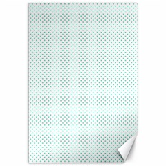 Tiffany Aqua Blue Candy Polkadot Hearts on White Canvas 12  x 18