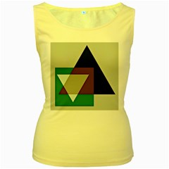 Geodesic Triangle Square Women s Yellow Tank Top