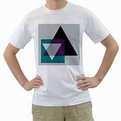 Geodesic Triangle Square Men s T-Shirt (White) (Two Sided)