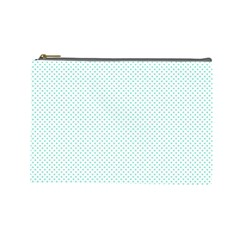 Tiffany Aqua Blue Candy Polkadot Hearts on White Cosmetic Bag (Large)