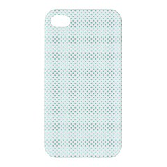Tiffany Aqua Blue Candy Polkadot Hearts on White Apple iPhone 4/4S Premium Hardshell Case