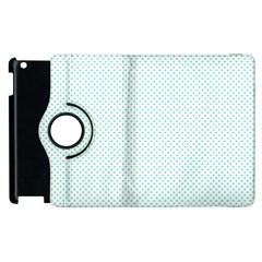 Tiffany Aqua Blue Candy Polkadot Hearts on White Apple iPad 2 Flip 360 Case