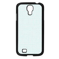 Tiffany Aqua Blue Candy Polkadot Hearts on White Samsung Galaxy S4 I9500/ I9505 Case (Black)