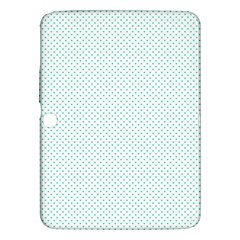 Tiffany Aqua Blue Candy Polkadot Hearts on White Samsung Galaxy Tab 3 (10.1 ) P5200 Hardshell Case