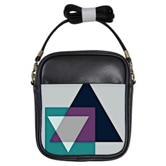 Geodesic Triangle Square Girls Sling Bags