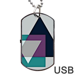 Geodesic Triangle Square Dog Tag USB Flash (One Side)