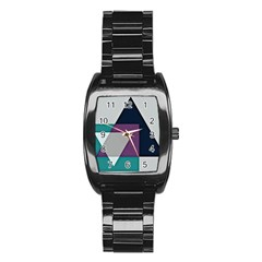 Geodesic Triangle Square Stainless Steel Barrel Watch