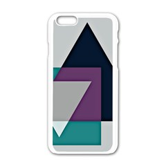 Geodesic Triangle Square Apple iPhone 6/6S White Enamel Case