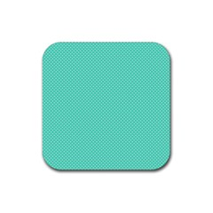 White Polkadot Hearts on Tiffany Aqua Blue  Rubber Coaster (Square)