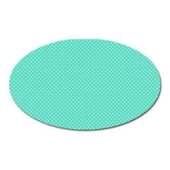 White Polkadot Hearts on Tiffany Aqua Blue  Oval Magnet