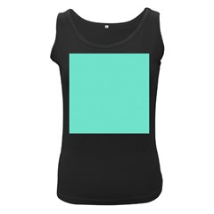 White Polkadot Hearts on Tiffany Aqua Blue  Women s Black Tank Top