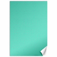White Polkadot Hearts on Tiffany Aqua Blue  Canvas 12  x 18