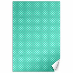 White Polkadot Hearts on Tiffany Aqua Blue  Canvas 20  x 30