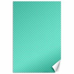 White Polkadot Hearts on Tiffany Aqua Blue  Canvas 24  x 36