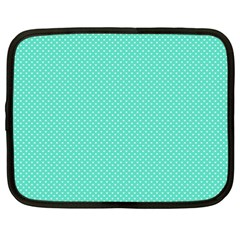 White Polkadot Hearts on Tiffany Aqua Blue  Netbook Case (XXL)