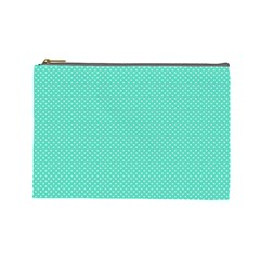 White Polkadot Hearts on Tiffany Aqua Blue  Cosmetic Bag (Large)