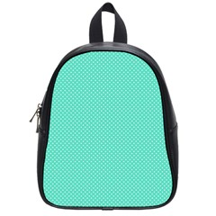 White Polkadot Hearts on Tiffany Aqua Blue  School Bags (Small)