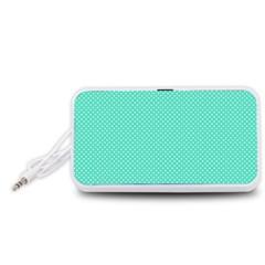 White Polkadot Hearts on Tiffany Aqua Blue  Portable Speaker (White)
