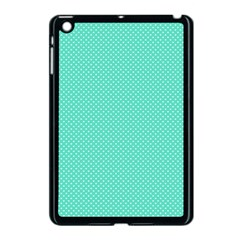 White Polkadot Hearts on Tiffany Aqua Blue  Apple iPad Mini Case (Black)