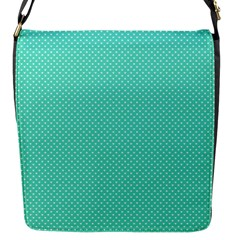 White Polkadot Hearts on Tiffany Aqua Blue  Flap Messenger Bag (S)
