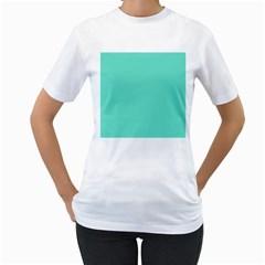 White Polkadot Hearts on Tiffany Aqua Blue  Women s T-Shirt (White)