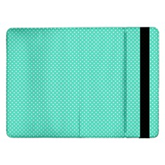 White Polkadot Hearts on Tiffany Aqua Blue  Samsung Galaxy Tab Pro 12.2  Flip Case
