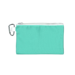 White Polkadot Hearts on Tiffany Aqua Blue  Canvas Cosmetic Bag (S)
