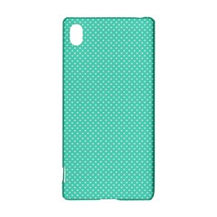 White Polkadot Hearts on Tiffany Aqua Blue  Sony Xperia Z3+