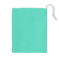 White Polkadot Hearts on Tiffany Aqua Blue  Drawstring Pouches (Extra Large)