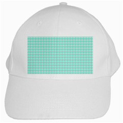 Solid White Hearts on Pale Tiffany Aqua Blue White Cap