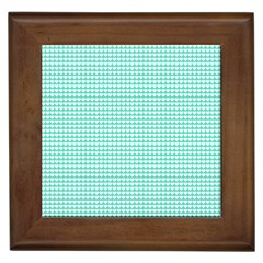Solid White Hearts on Pale Tiffany Aqua Blue Framed Tiles