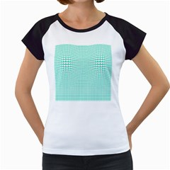 Solid White Hearts on Pale Tiffany Aqua Blue Women s Cap Sleeve T