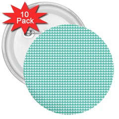 Solid White Hearts on Pale Tiffany Aqua Blue 3  Buttons (10 pack)