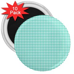 Solid White Hearts On Pale Tiffany Aqua Blue 3  Magnets (10 Pack)