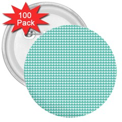 Solid White Hearts on Pale Tiffany Aqua Blue 3  Buttons (100 pack)
