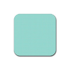 Solid White Hearts on Pale Tiffany Aqua Blue Rubber Coaster (Square)