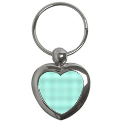 Solid White Hearts on Pale Tiffany Aqua Blue Key Chains (Heart)