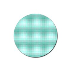 Solid White Hearts on Pale Tiffany Aqua Blue Rubber Round Coaster (4 pack)