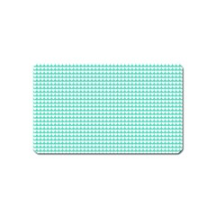Solid White Hearts on Pale Tiffany Aqua Blue Magnet (Name Card)