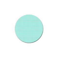 Solid White Hearts on Pale Tiffany Aqua Blue Golf Ball Marker