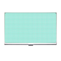 Solid White Hearts on Pale Tiffany Aqua Blue Business Card Holders