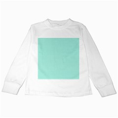 Solid White Hearts on Pale Tiffany Aqua Blue Kids Long Sleeve T-Shirts