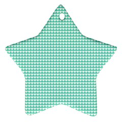 Solid White Hearts on Pale Tiffany Aqua Blue Star Ornament (Two Sides)