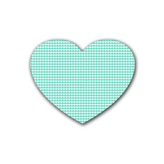 Solid White Hearts on Pale Tiffany Aqua Blue Rubber Coaster (Heart)