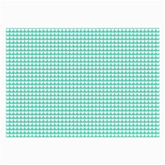 Solid White Hearts on Pale Tiffany Aqua Blue Large Glasses Cloth (2-Side)