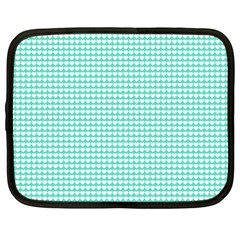 Solid White Hearts on Pale Tiffany Aqua Blue Netbook Case (Large)