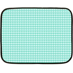Solid White Hearts on Pale Tiffany Aqua Blue Fleece Blanket (Mini)