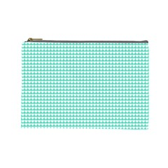Solid White Hearts on Pale Tiffany Aqua Blue Cosmetic Bag (Large)